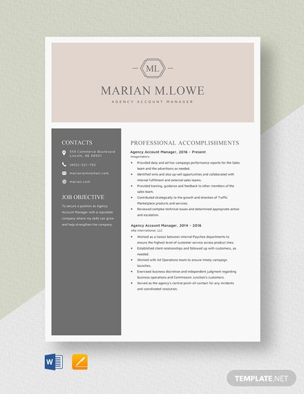 Agency Account Manager Resume Template
