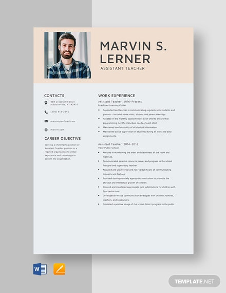 Assistant Teacher Resume Template