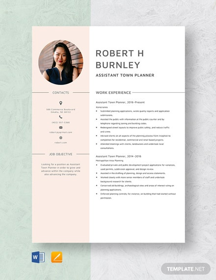Assistant Town Planner Resume Template