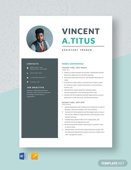 Assistant Trader Resume Template