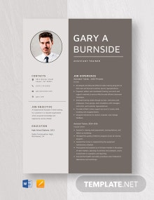 Assistant Trainer Resume Template