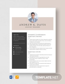 Assistant Treasurer Resume Template