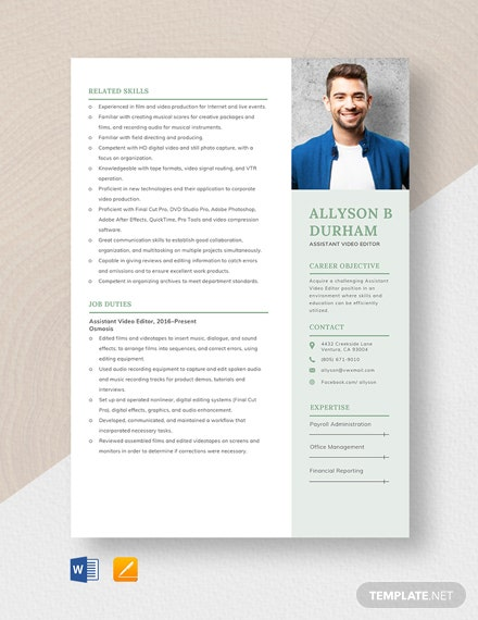 Assistant Video Editor Resume Template Word Apple Pages