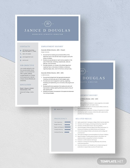 Associate Athletic Director Resume Download