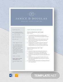 Associate Athletic Director Resume Template