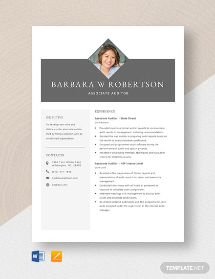 Associate Auditor Resume Template