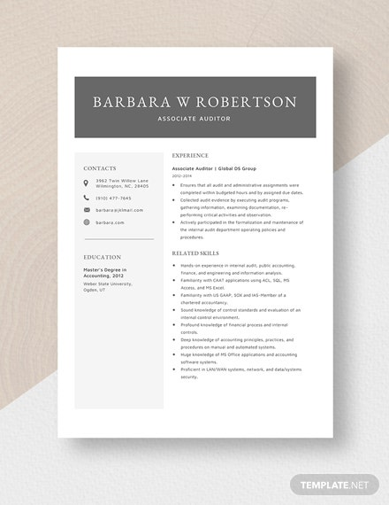 Associate Auditor Resume Template