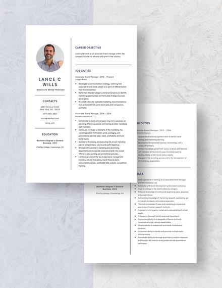 Associate Brand Manager Resume Download