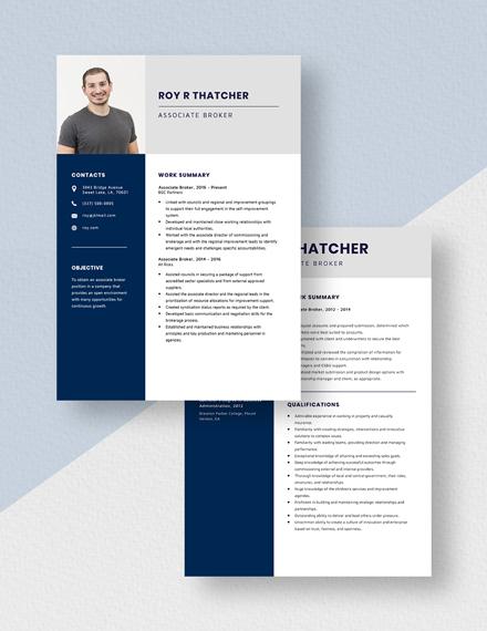 Associate Broker Resume Download