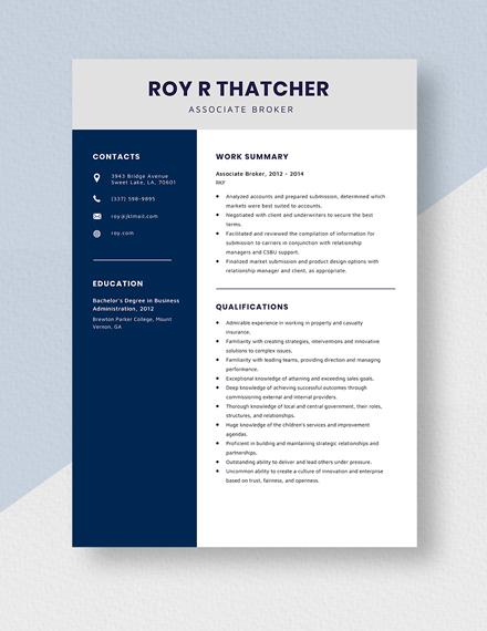 Associate Broker Resume Template