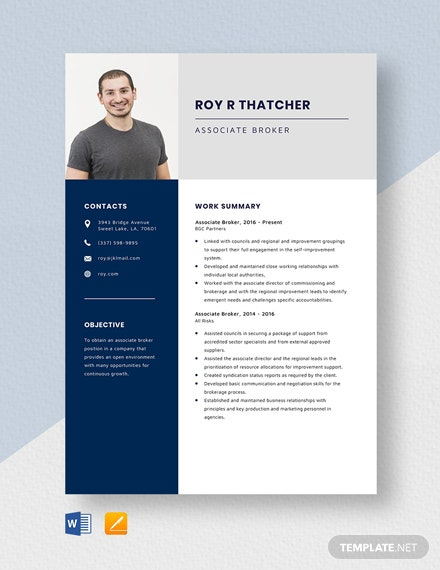 Associate Broker Resume Template