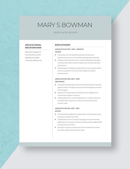 Associate Buyer Resume Template