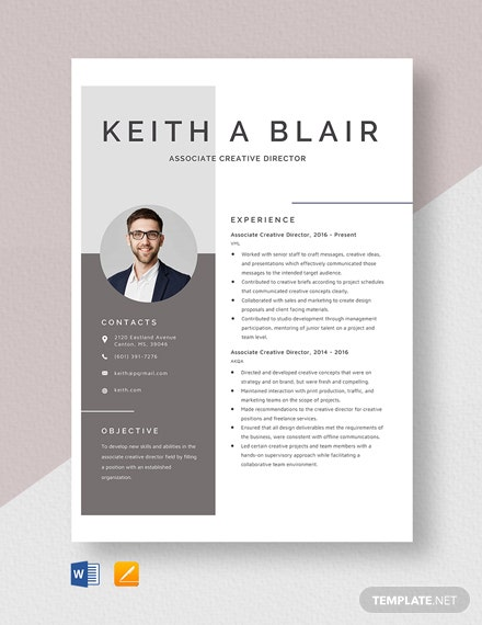 Associate Creative Director Resume Template