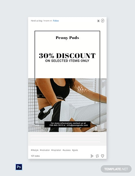 Free Fashion Big Sale Tumblr Post Template