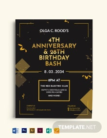 Anniversary And Birthday Party Flyer Template