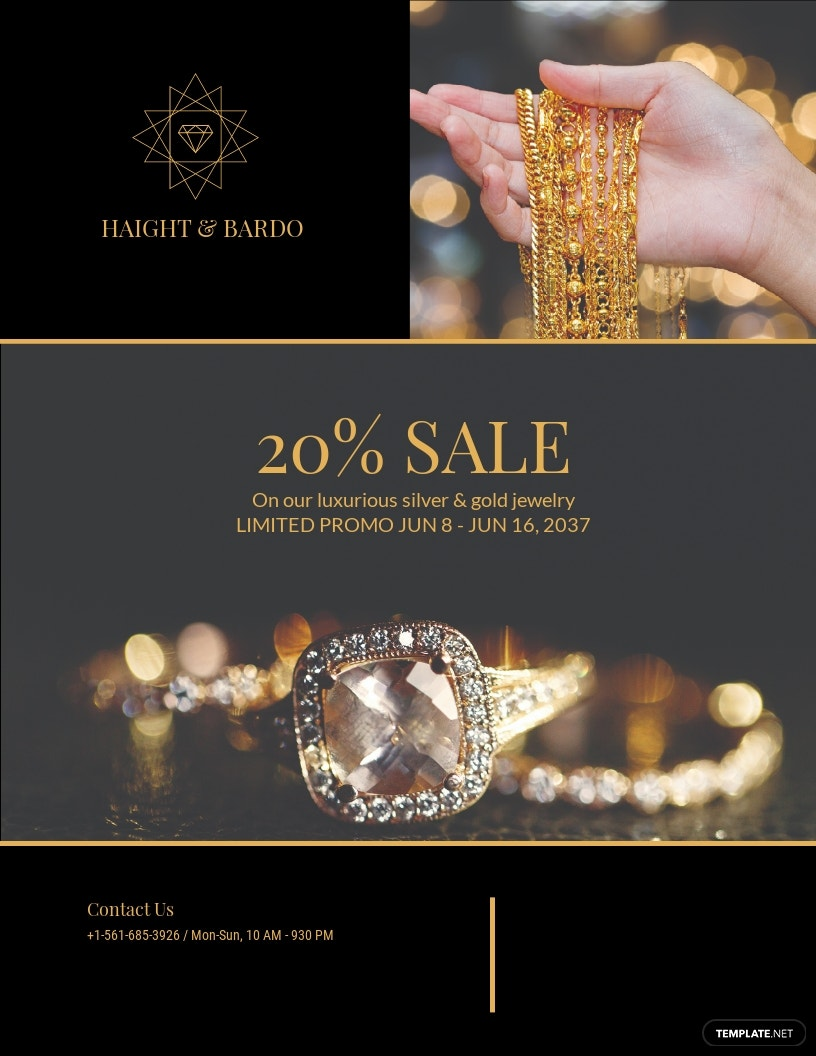 Black Gold Jewelry Flyer Template