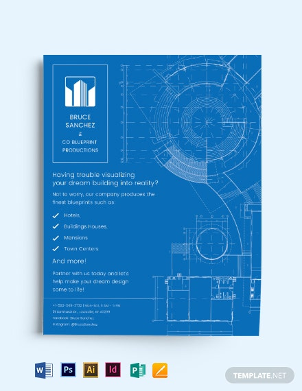 Blueprint Architect Flyer Template