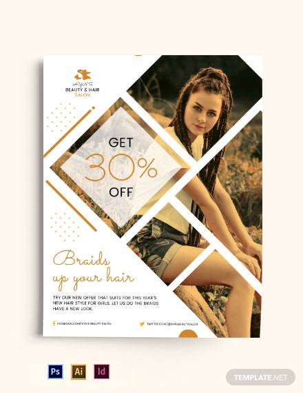 Braids Hair Salon Flyer Template
