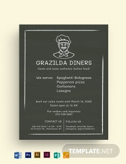 Chalk Style Restaurant Flyer Template