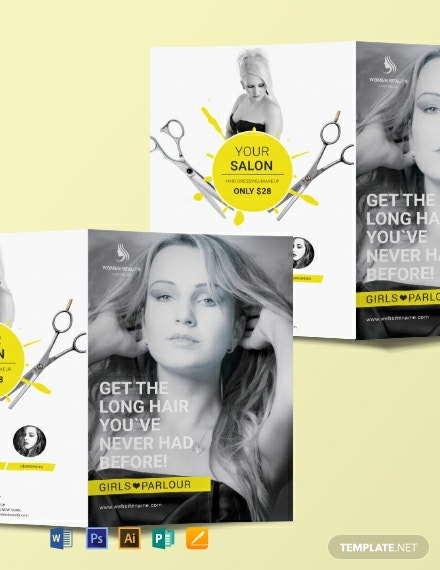 Free Beauty Parlor A3 Bifold Brochure Template