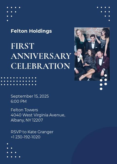 1st Anniversary Invitation Template
