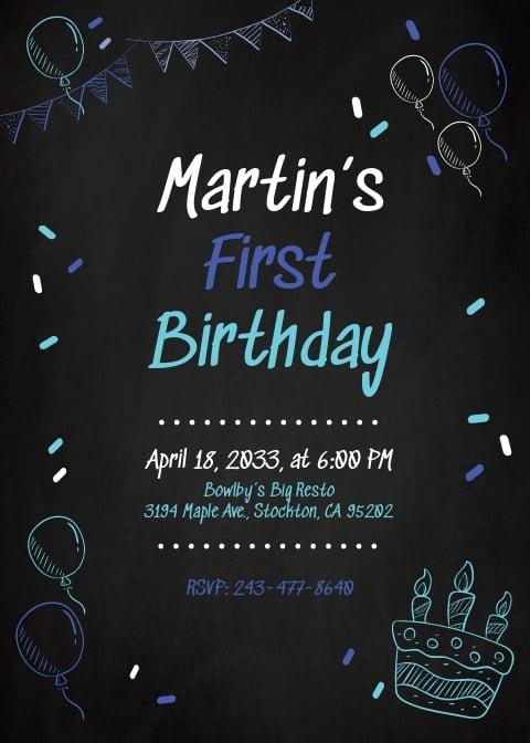 1st Birthday Chalkboard Invitation Template