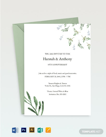 10th year Anniversary Invitation Template