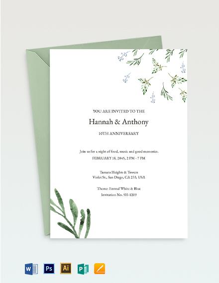 10th year Anniversary Invitation Template