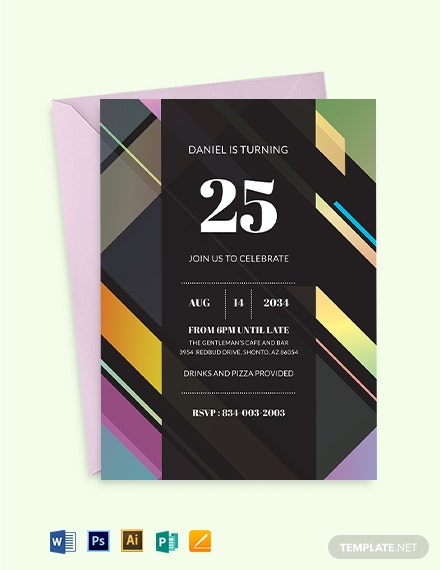 25th Birthday Invitation Template
