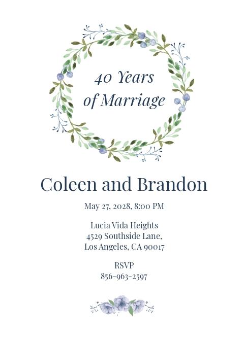 40th Anniversary Invitation Template