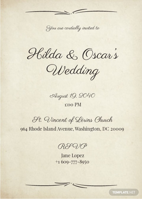 1900 Paris Wedding Invitation Template