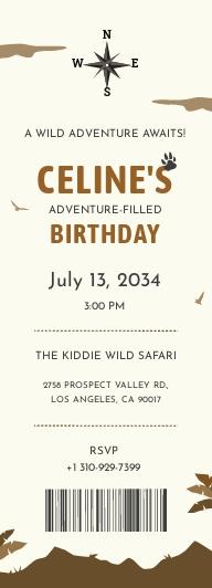 Adventure Boarding Pass Invitation template