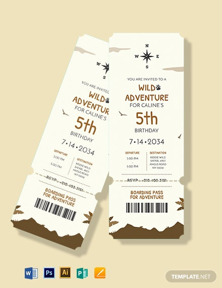 Adventure Boarding Pass Invitation template