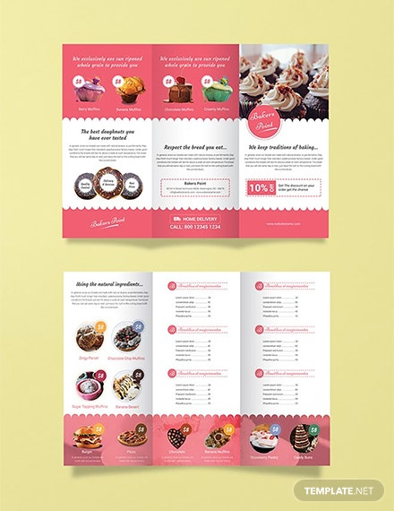 Free Bakery Tri-Fold Brochure Template