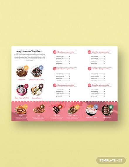 Free Bakery TriFold Brochure Template