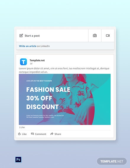 Free Fashion Products Sale LinkedIn Blog Post Template
