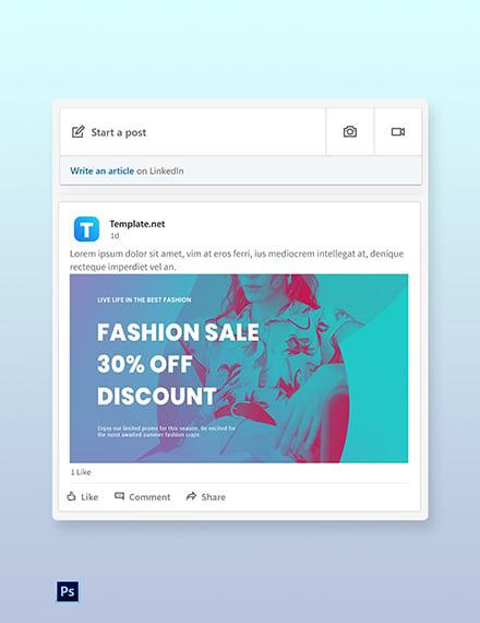 Free Fashion Products Sale LinkedIn Blog Post Template