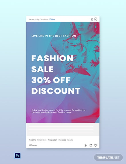 Free Fashion Products Sale Tumblr Post Template
