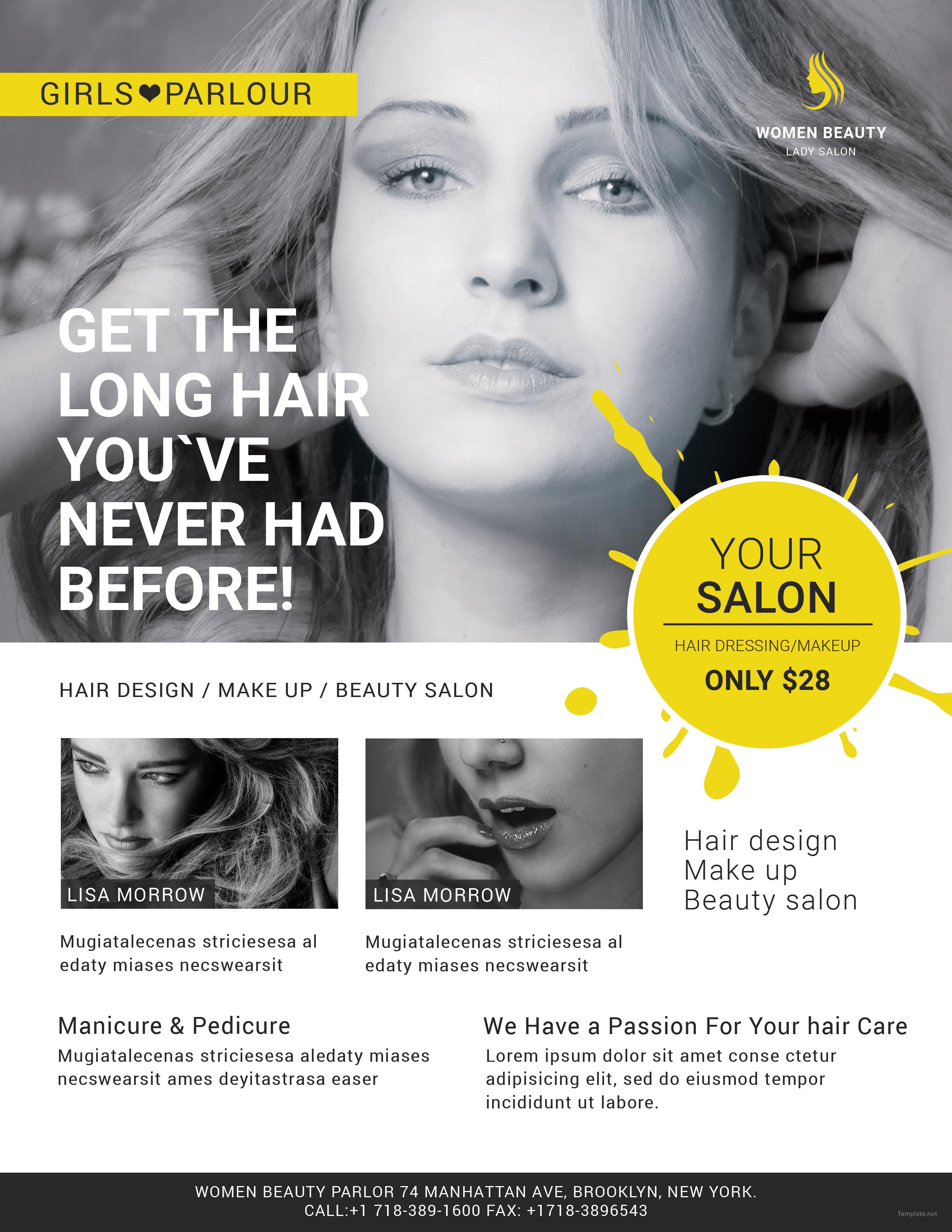 Schön Hair Salon Flyer Schablone Galerie - Bilder für das Lebenslauf ...