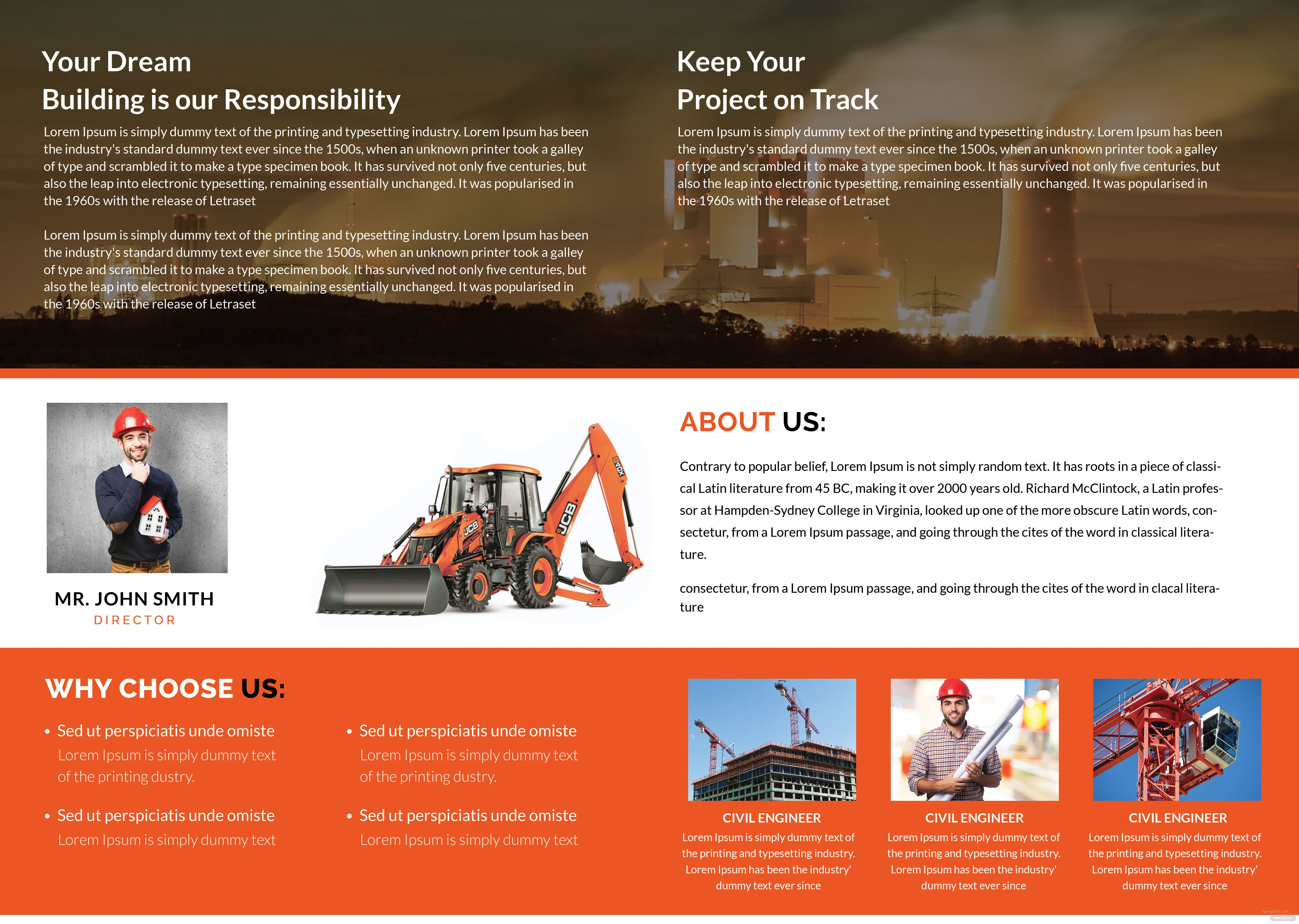 Free building construction brochure template in adobe for Adobe photoshop brochure templates
