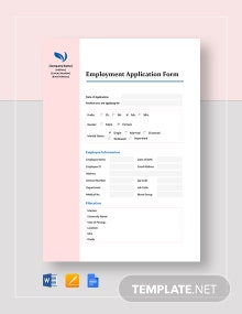 Basic Employment Application Form Template