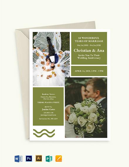 Anniversary Collage Invitation Template