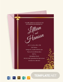 Anniversary Invitation Template With Maroon and Gold Ribbons