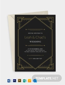 Art Deco Fall Wedding RSVP Invitation Template