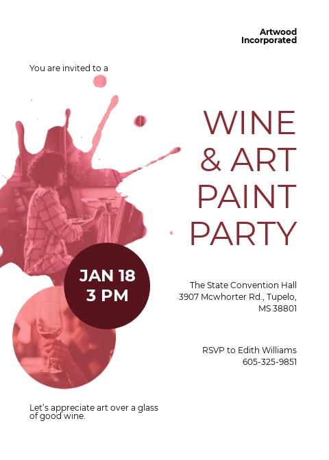 Art Paint Party Invitation Template