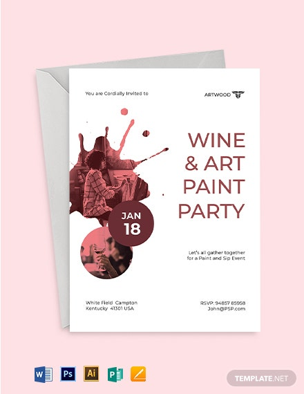Art Paint Party Invitation Template