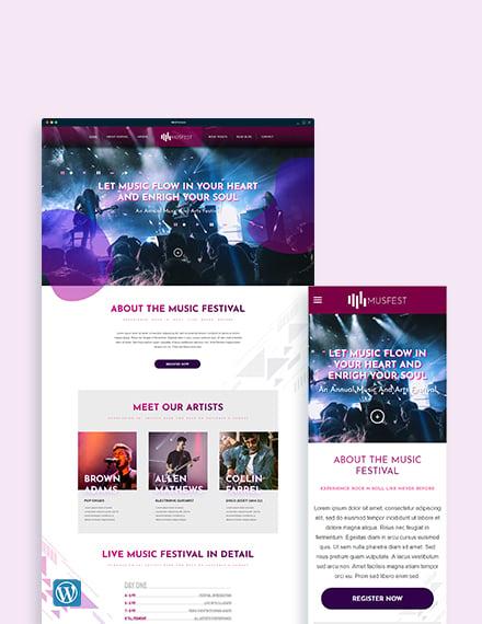 Music Festival WordPress Theme/Template