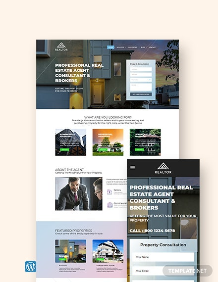 Real Estate Agent Realtor WordPress Theme/Template