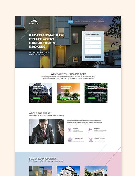 Real Estate Agent Sample Realtor WordPress ThemeTemplate