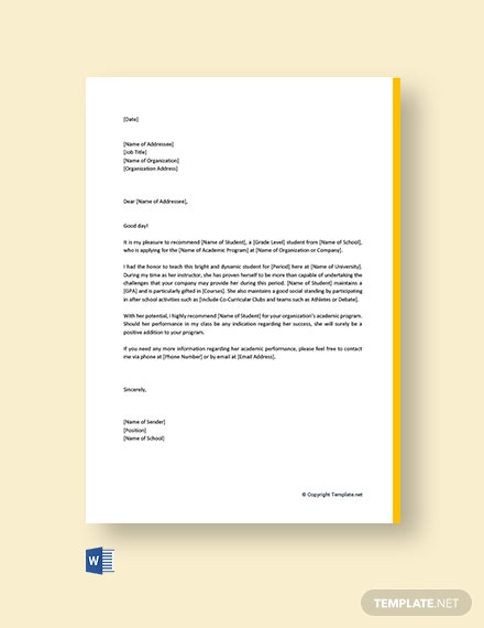 Free Academic Reference Letter for Student